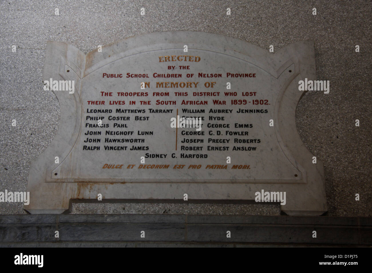 A plaque in memory of the soldiers who died in the South African War 1899-1902, inside Christ Church Cathedral in - Stock Image
