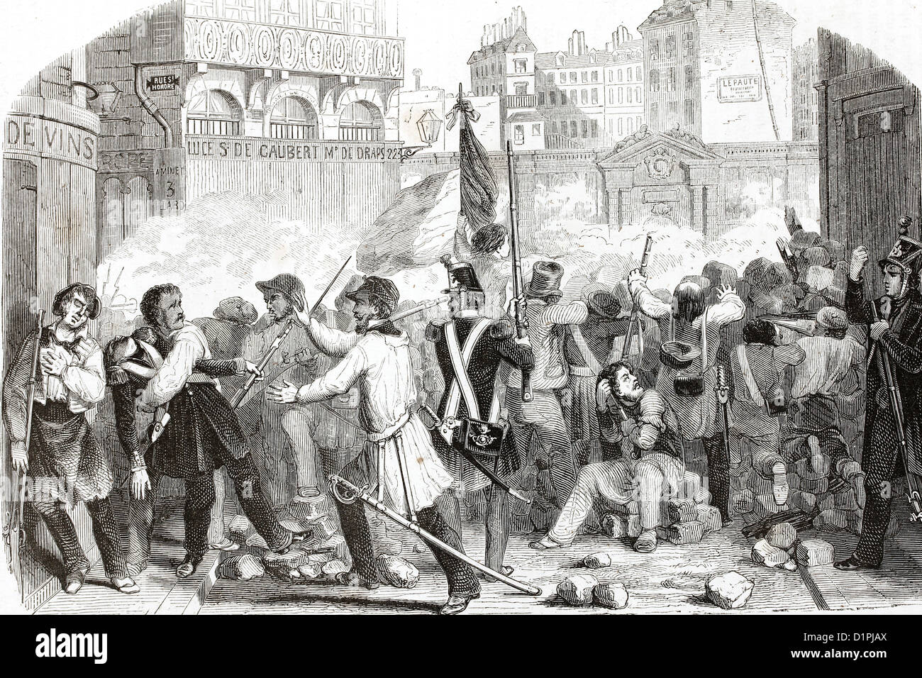 French revolution (July 1830). Antique illustration, 1855. - Stock Image