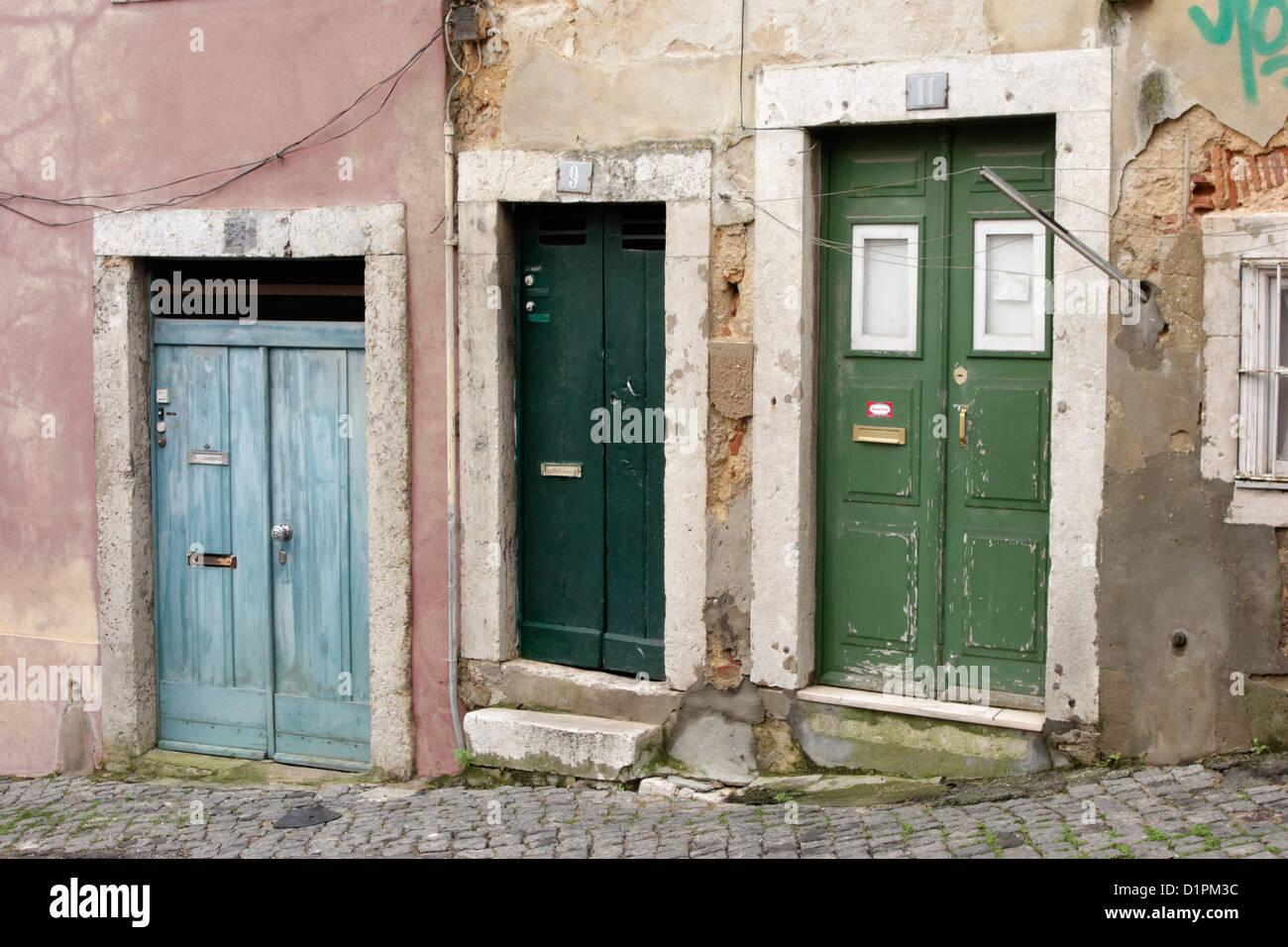 lisbon portugal street alfama door patina old pastel - Stock Image