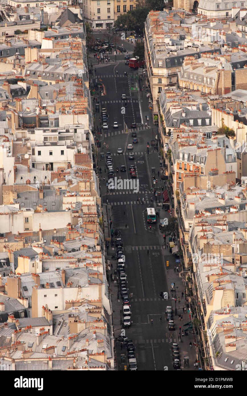 Rue de Rennes in Paris seen from Tour Montparnasse - Stock Image