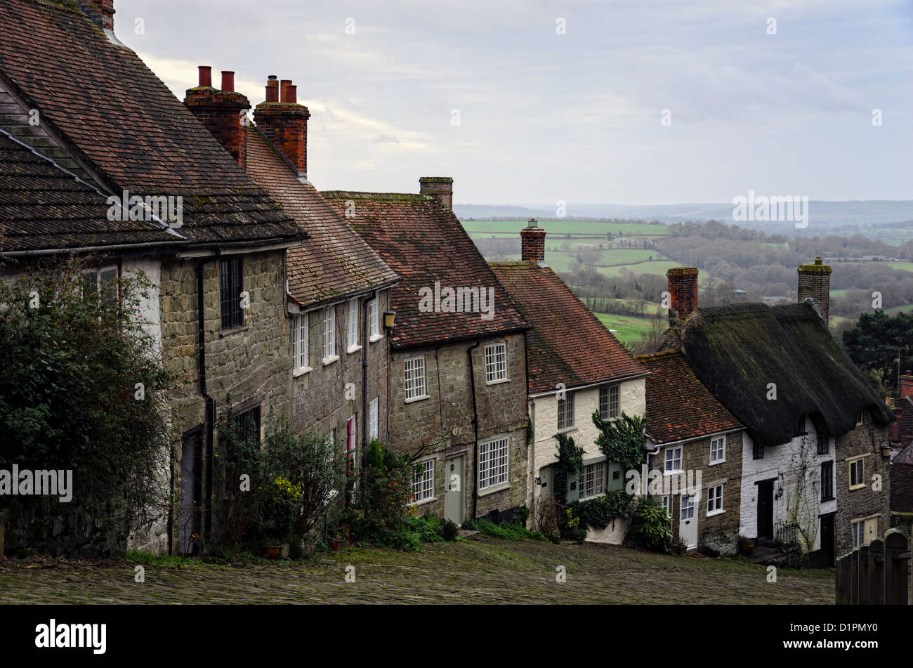 A row of cottages on a steep cobbled street at Gold Hill in Shafetsbury, Dorset - Stock Image