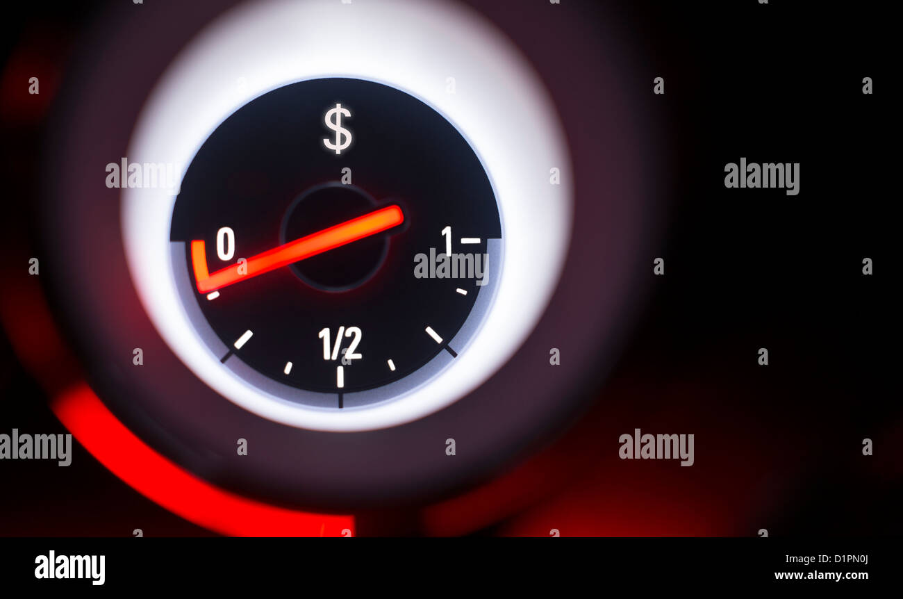 Dollar sign fuel gauge at empty. - Stock Image