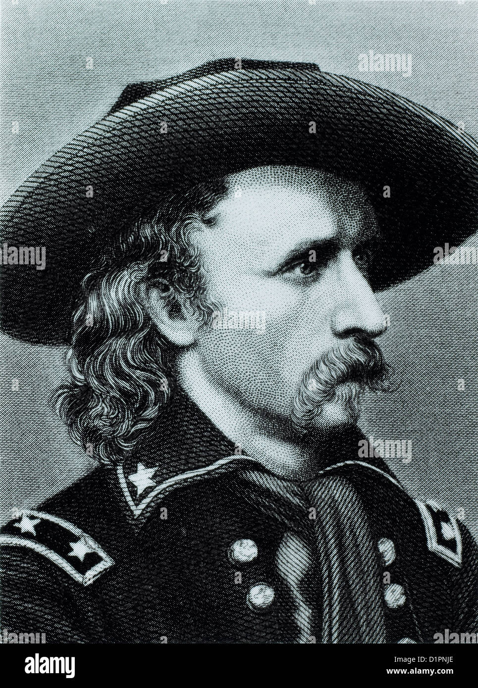 George Custer (1839-1876), American Army Officer, Killed at Battle of Little Big Horn, Illustration, Portrait, Circa - Stock Image