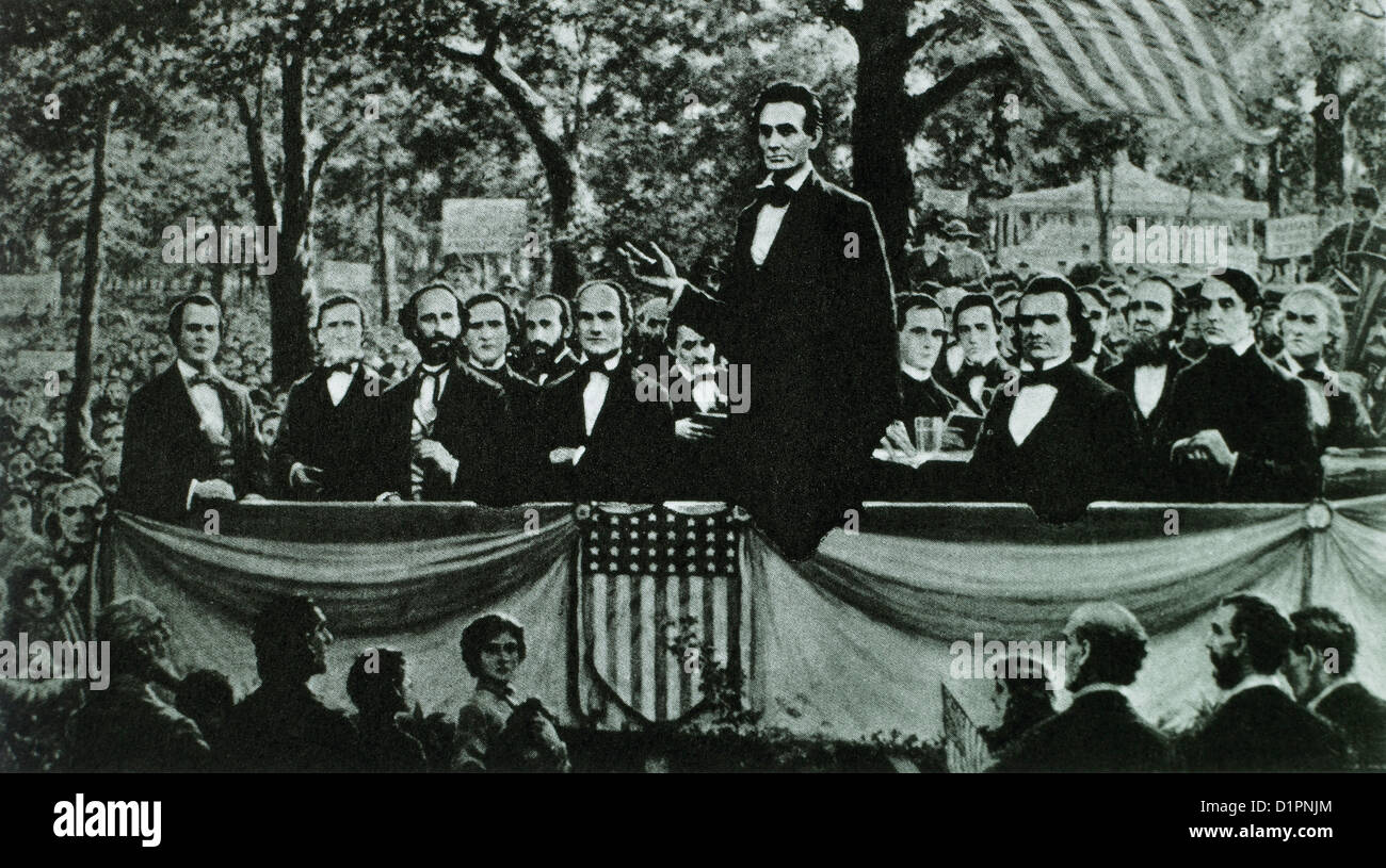 Abraham Lincoln Speaking During One Of The Lincoln Douglas