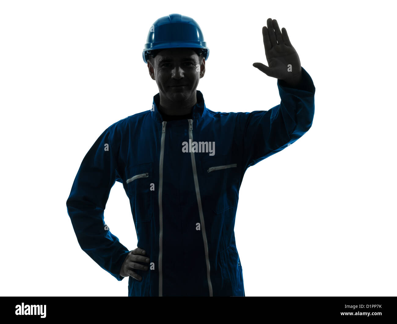 one  man construction worker saluting smiling silhouette portrait in studio on white background - Stock Image