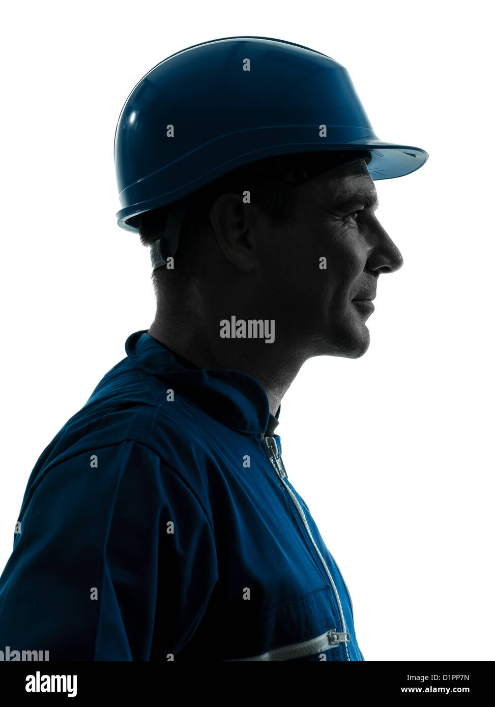 one man construction worker smiling silhouette portrait in