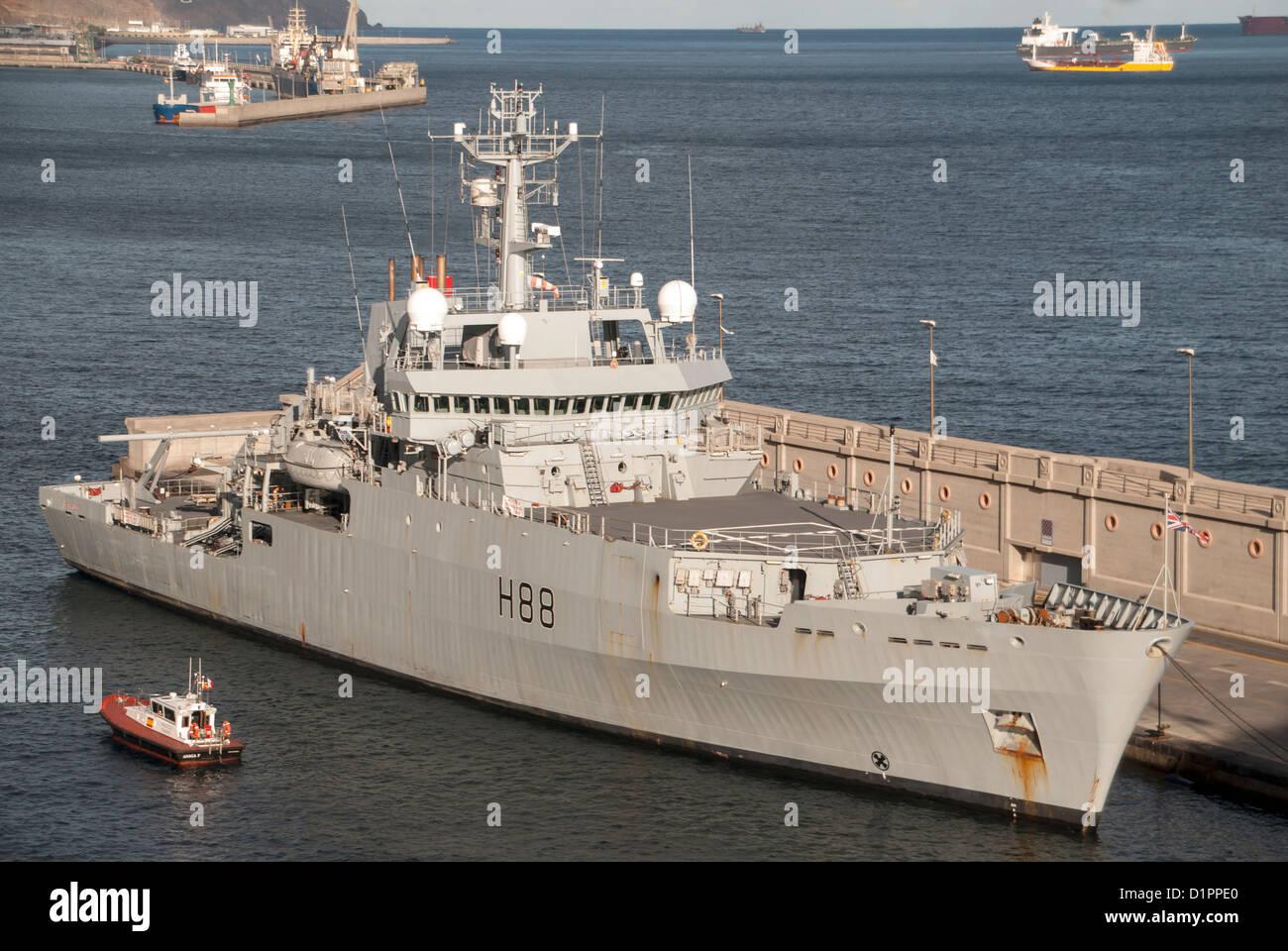Royal Navy HMS Enterprise, a multi-role survey vessel - Stock Image