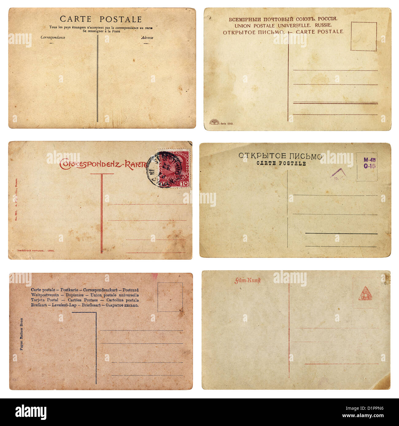 Set of aged vintage postcards from early 1900s. Comes on white background, isolated with clipping path. - Stock Image