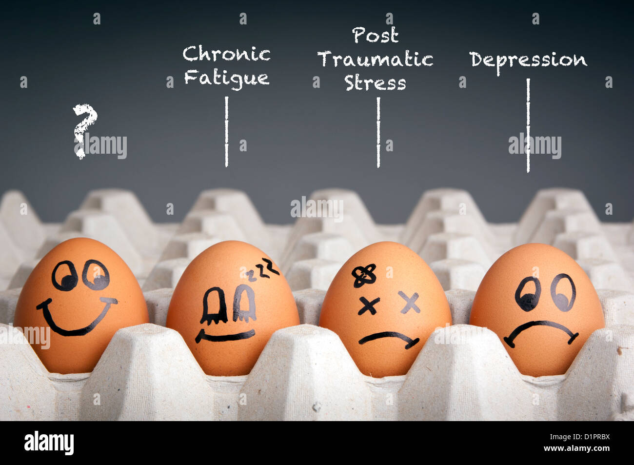 Mental health concept in playful style with egg characters - Stock Image