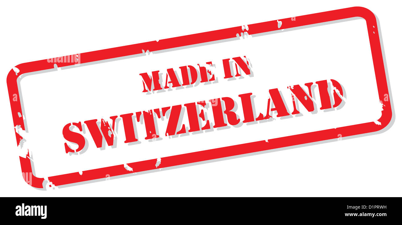 Red rubber stamp vector of Made In Switzerland - Stock Image
