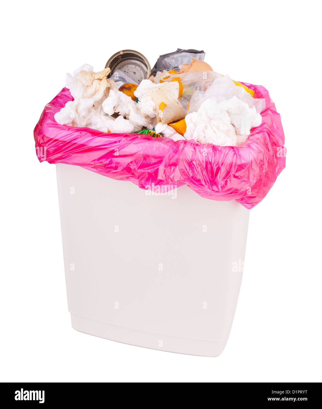 Trash can filled with rubbish and garbage, isolated with clipping path - Stock Image