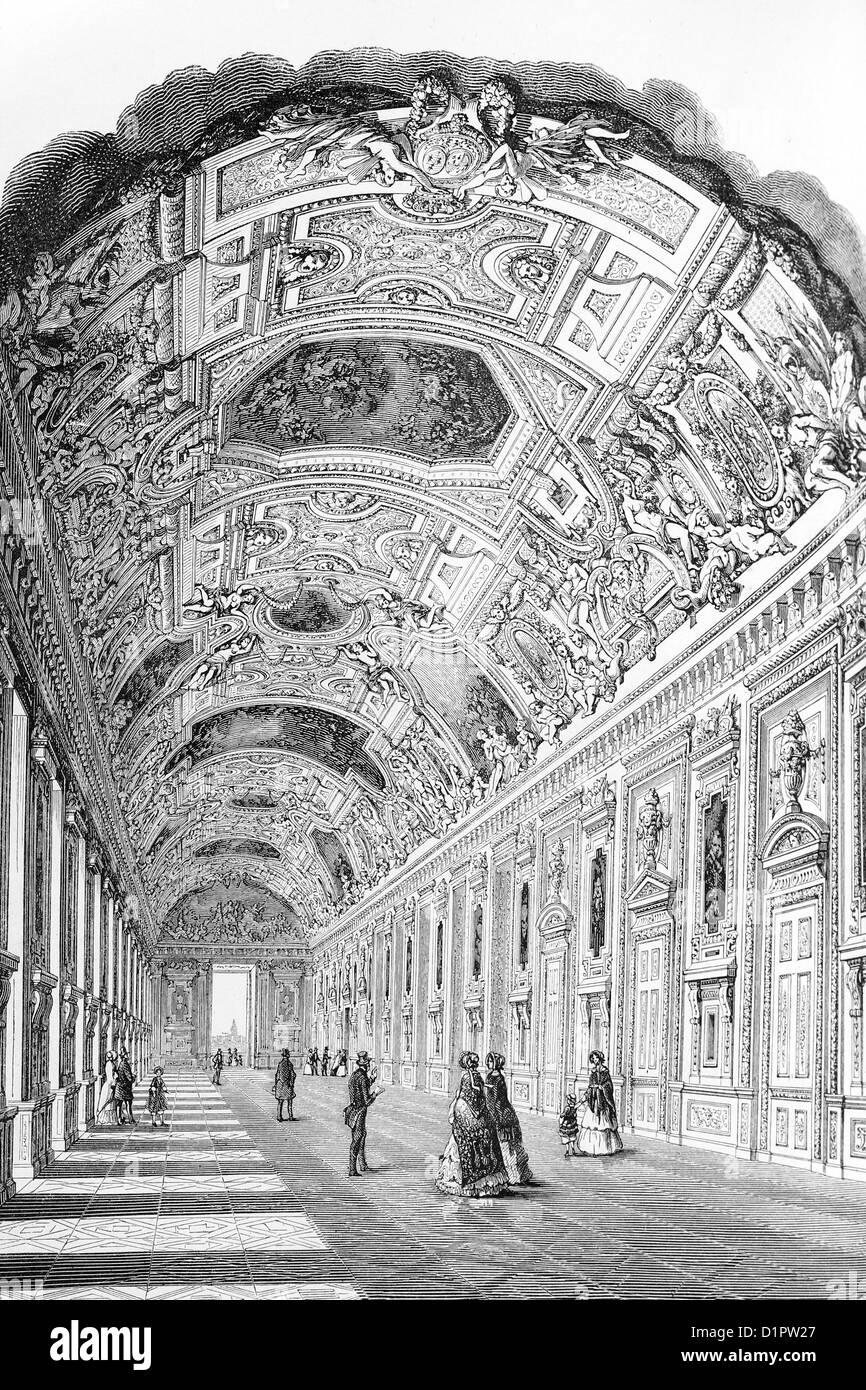 Louvre, Paris. Apollo gallery. Antique illustration, 1856. - Stock Image