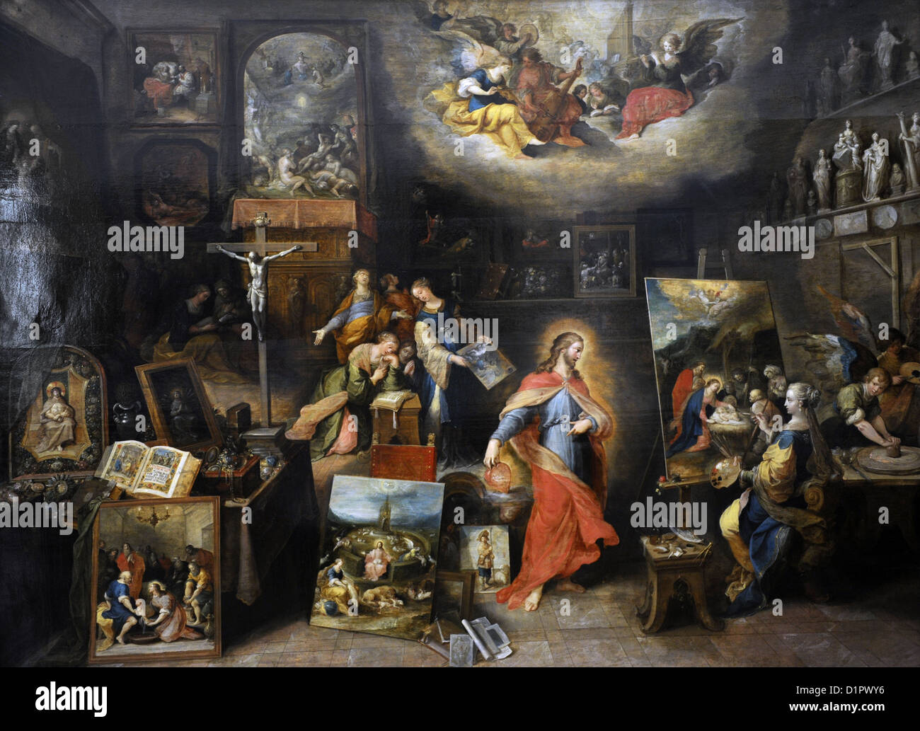 Frans Francken the Younger (1581-1642). Flemish painter. Christ in the Studio. Museum of Fine Arts. Budapest. Hungary. - Stock Image