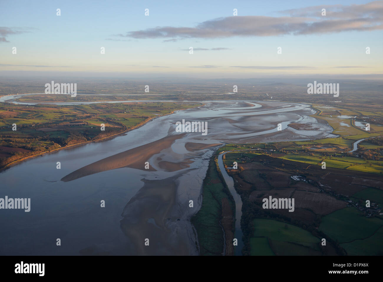 Aerial photograph of the River Severn - Stock Image