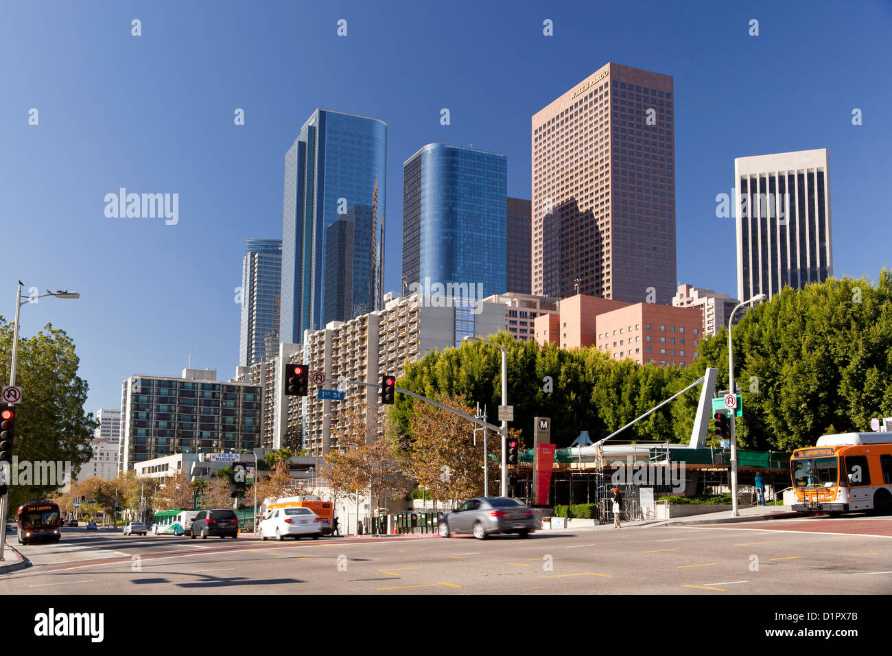 Skyline Downtown Los Angeles, California, United States of America, USA - Stock Image