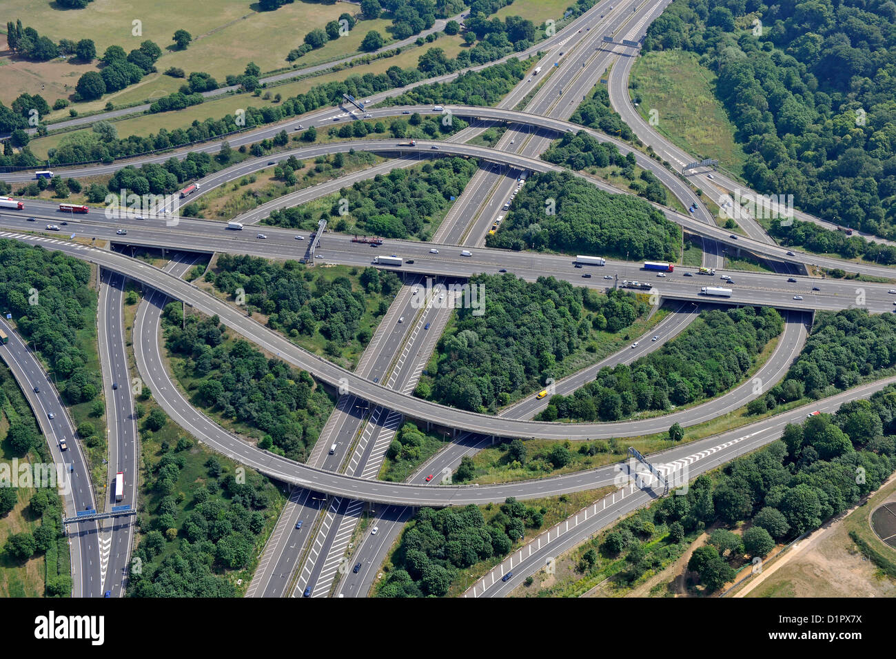 Aerial image of Motorway junction 12 M25 and M3 - Stock Image