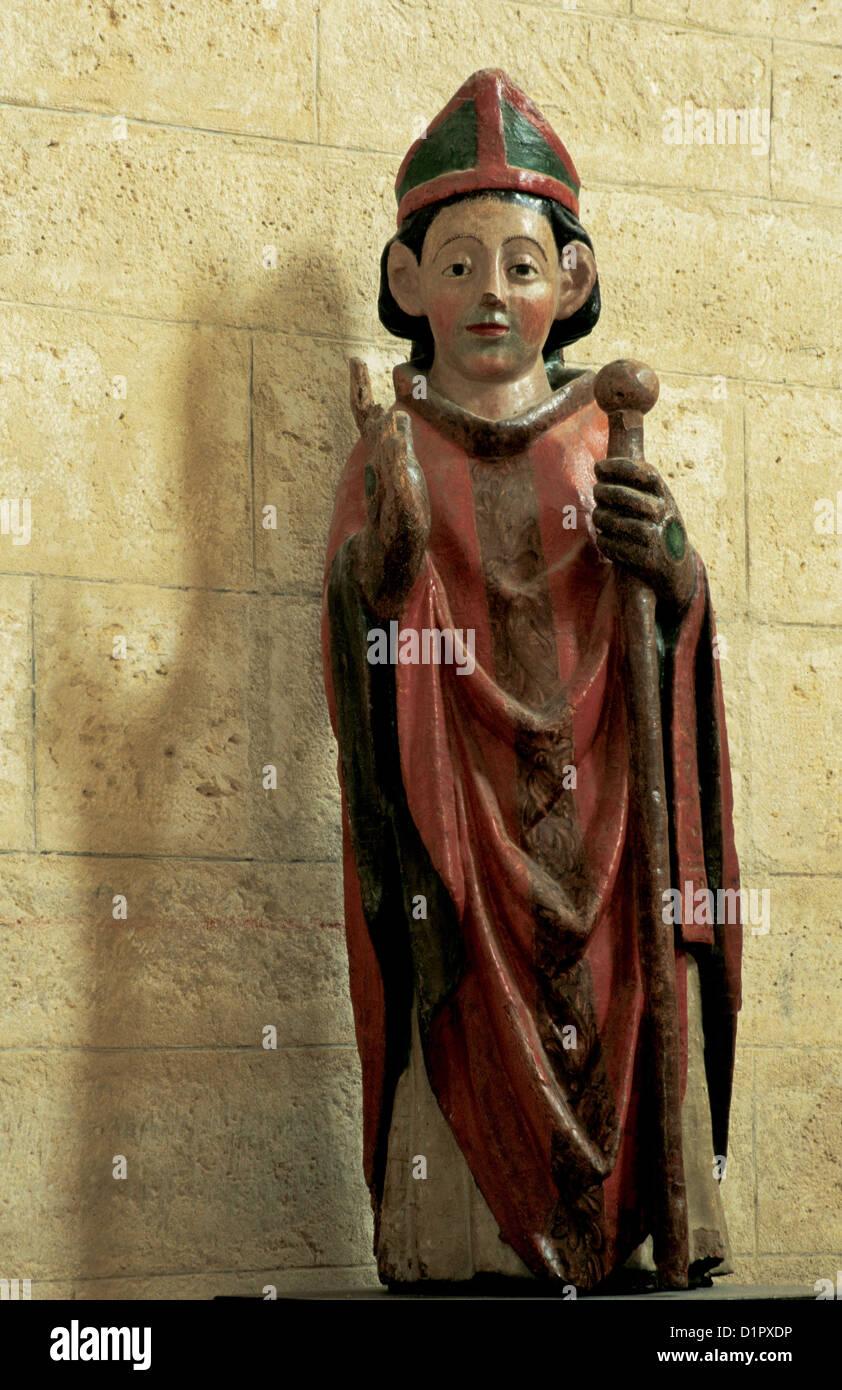 Martin of Tours (316-397). Bishop of Tours. Sculpture. Church of Saint Martin de Tours. Fromista. Spain. - Stock Image