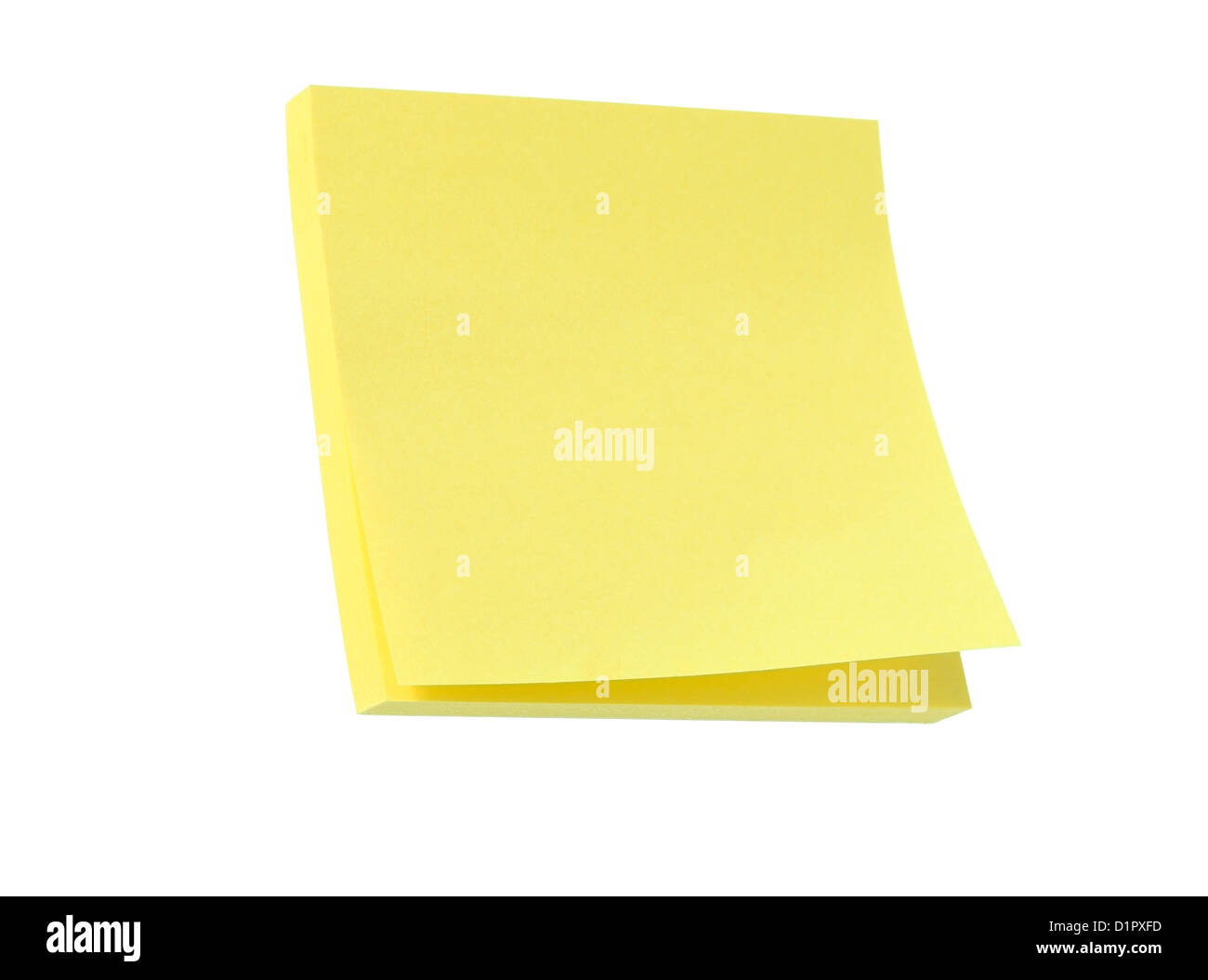 Yellow post it note pad isolated on white - Stock Image
