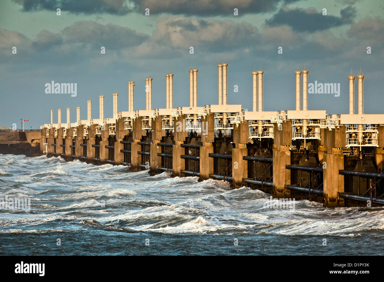 The Netherlands, Kamperland, Oosterschelde Flood Barrier. Part of the Delta Works. - Stock Image