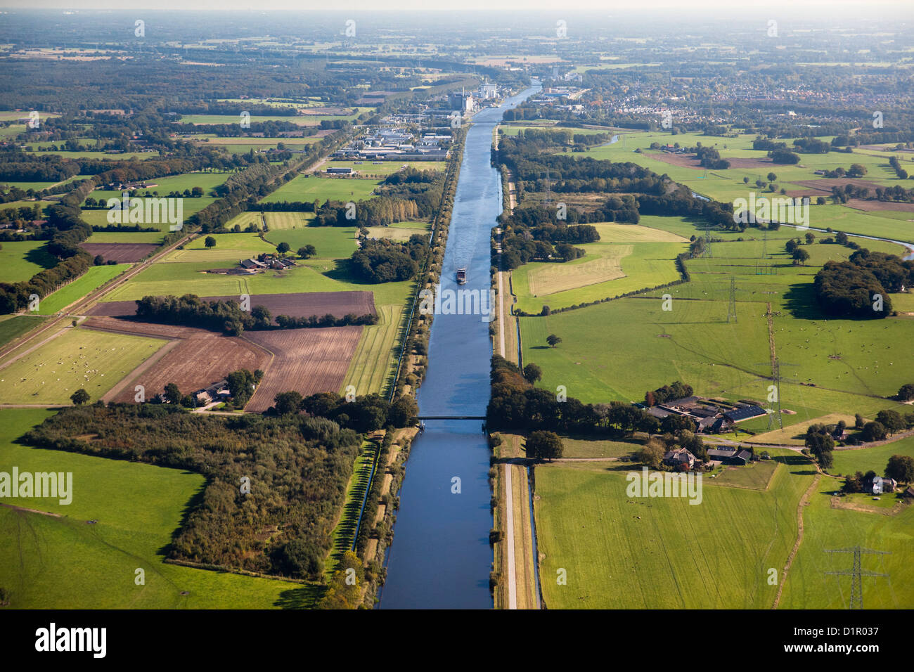 The Netherlands, Goor, Farms and fields. Agriculture. Aerial - Stock Image