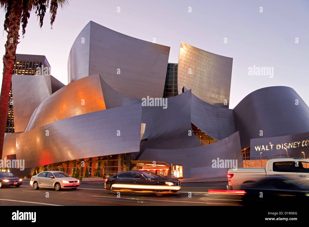 modern architecture by Frank Gehry at night, Walt Disney Concert Hall, Downtown Los Angeles, California, United - Stock Image