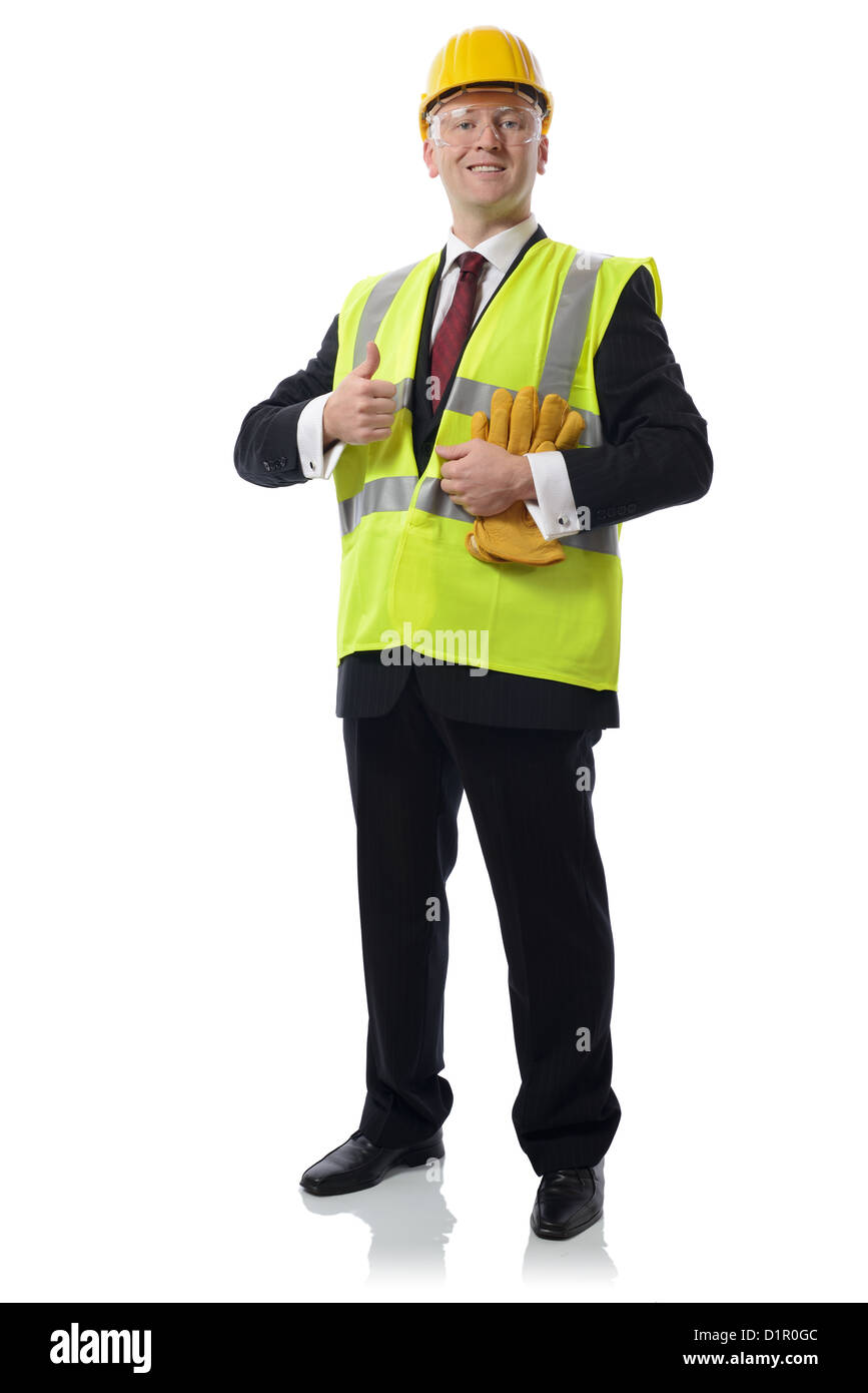 man in PPE Concept for using safety equipment isolated on white - Stock Image