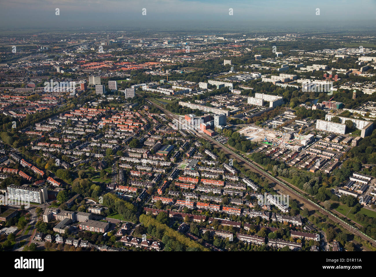 The Netherlands, Utrecht, Residential districts in the northern part of the city. Aerial. - Stock Image