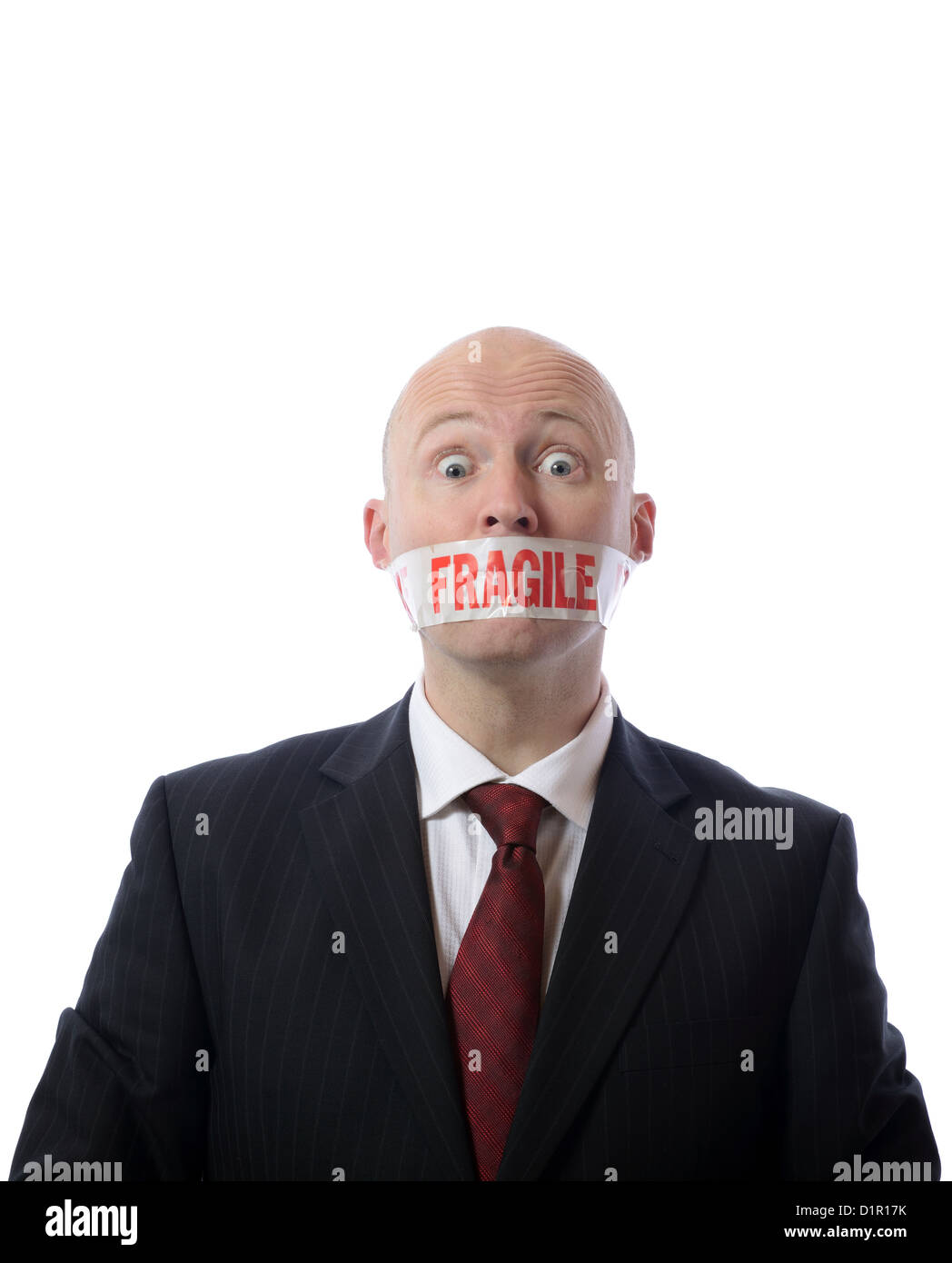 man with fragile tape over mouth concept of diplomacy or censorship isolated on white - Stock Image