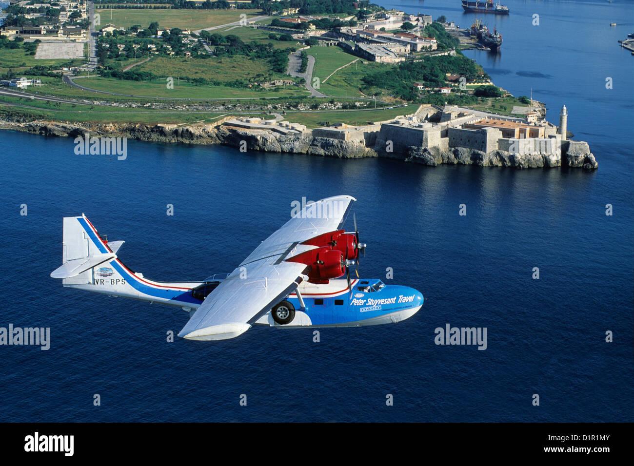 Cuba, Havana, fort, Catalina PBY-5A hydroplane. - Stock Image
