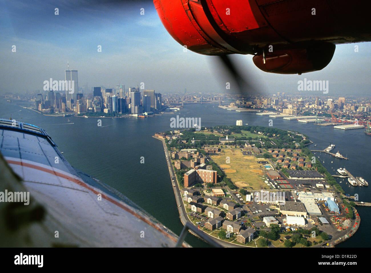 USA, New York, Catalina PBY-5A hydroplane. Background Manhattan. - Stock Image
