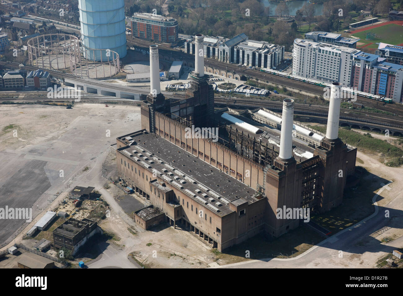 Aerial photograph of Battersea Power Station Stock Photo
