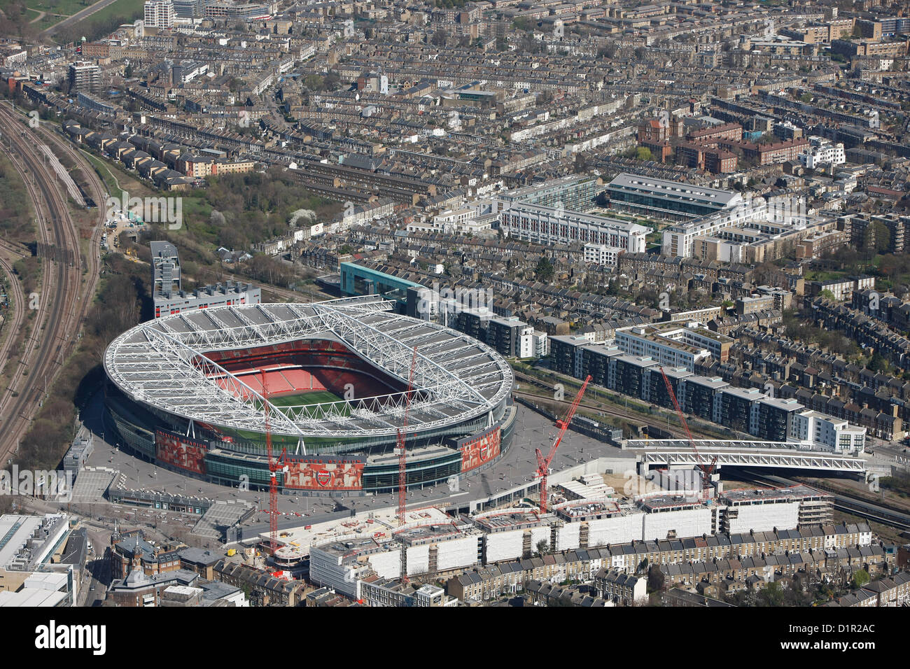 Aerial photograph showing The Emirates Stadium in relation to Highbury - Stock Image