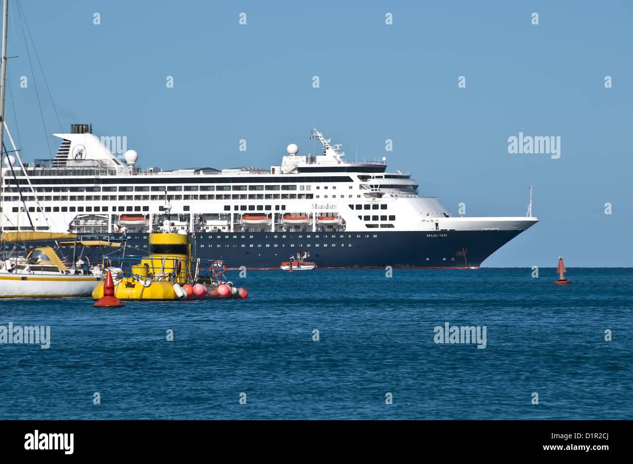 Holland America Maasdam, sailboat and yellow submarine, Saint Barthelemy - Stock Image