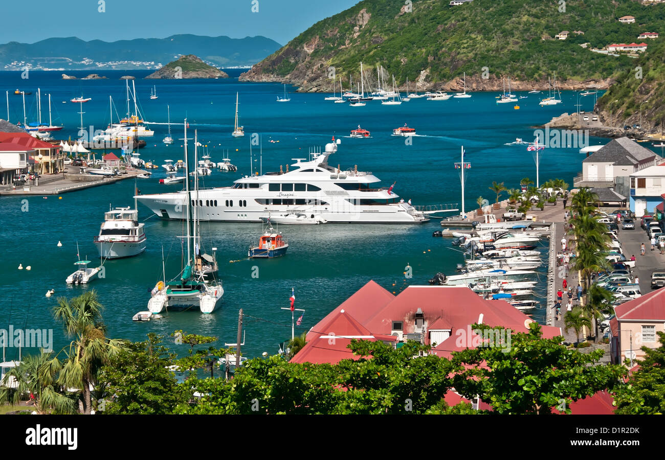 Above looking down on busy Gustavia Harbor crowded with yachts and sailboats, Saint Barthelemy - Stock Image