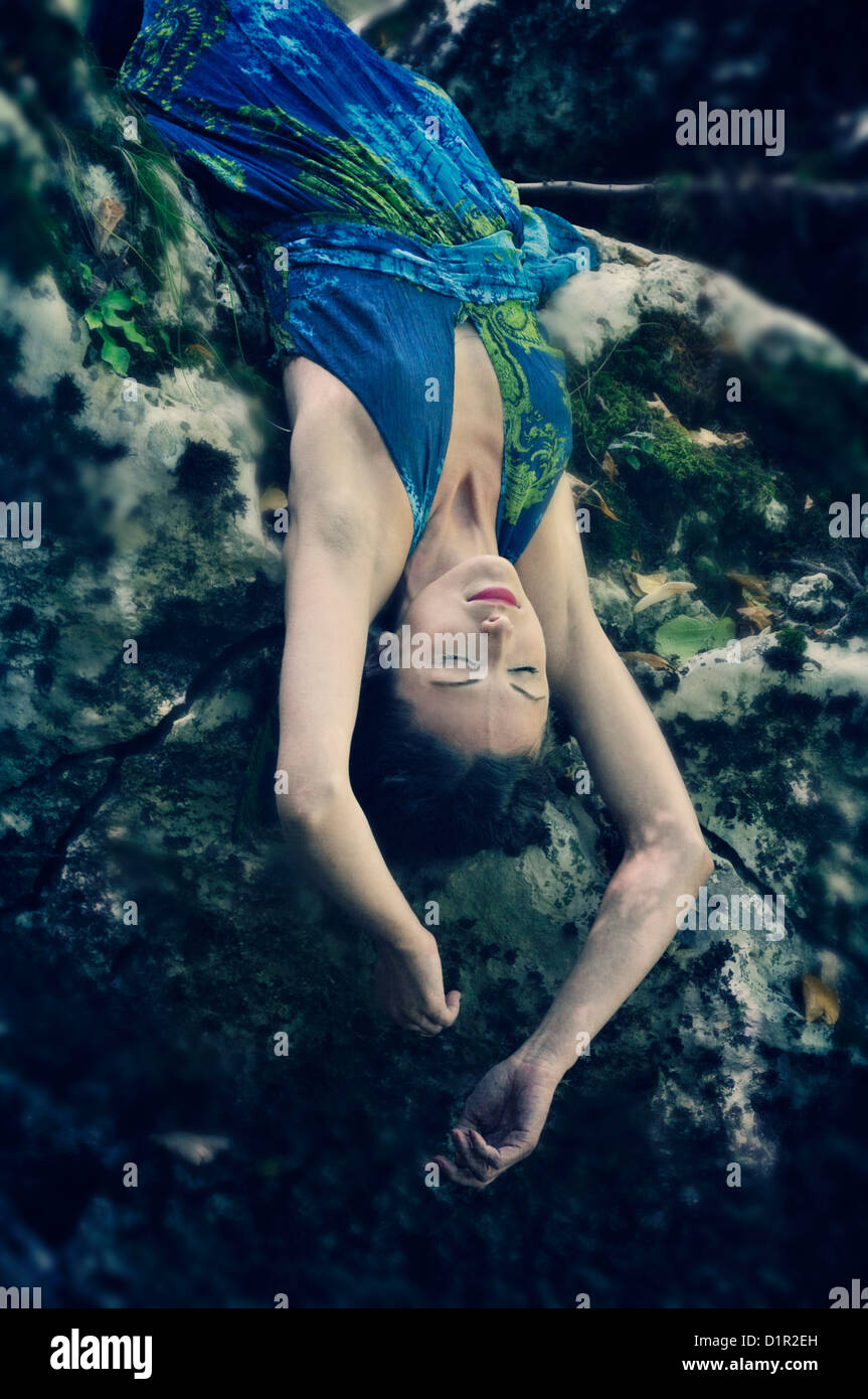 Young woman on the edge - Stock Image