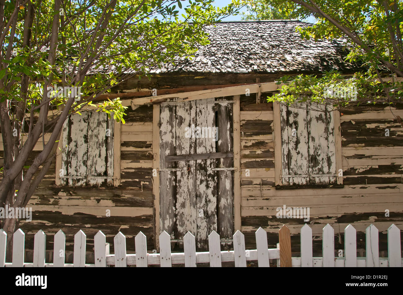 Old boarded up wooden house, Gustavia, Saint Barthelemy - Stock Image