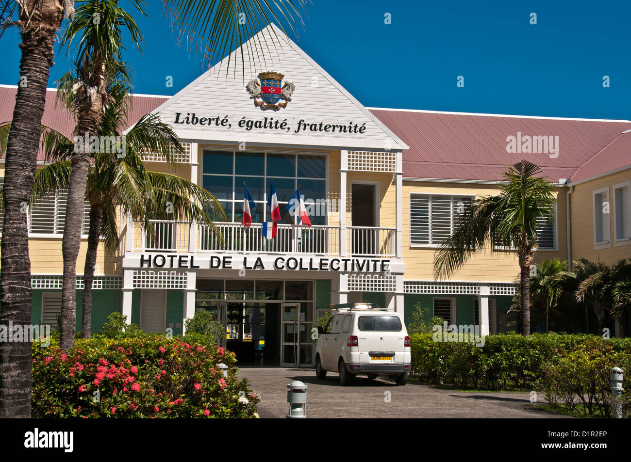 Exterior entrance Hotel Collective de la Collectivite, Gustavia, Saint-Barthelemy - Stock Image