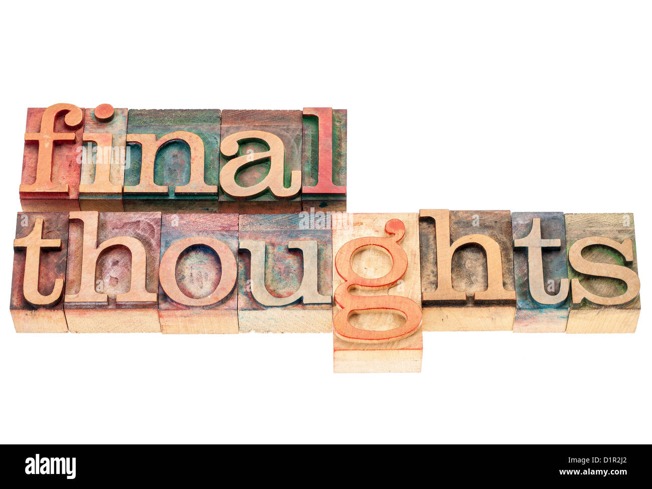 final thoughts - isolated words in vintage letterpress wood type printing blocks - Stock Image
