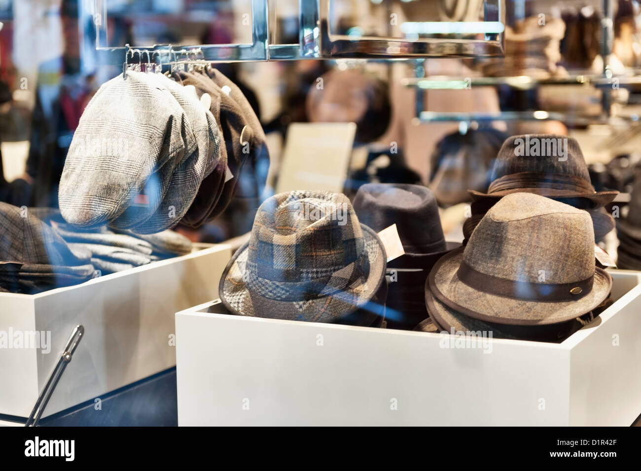 2522d89d1 Paris, France: Men's hats for sale - in the window of a department store