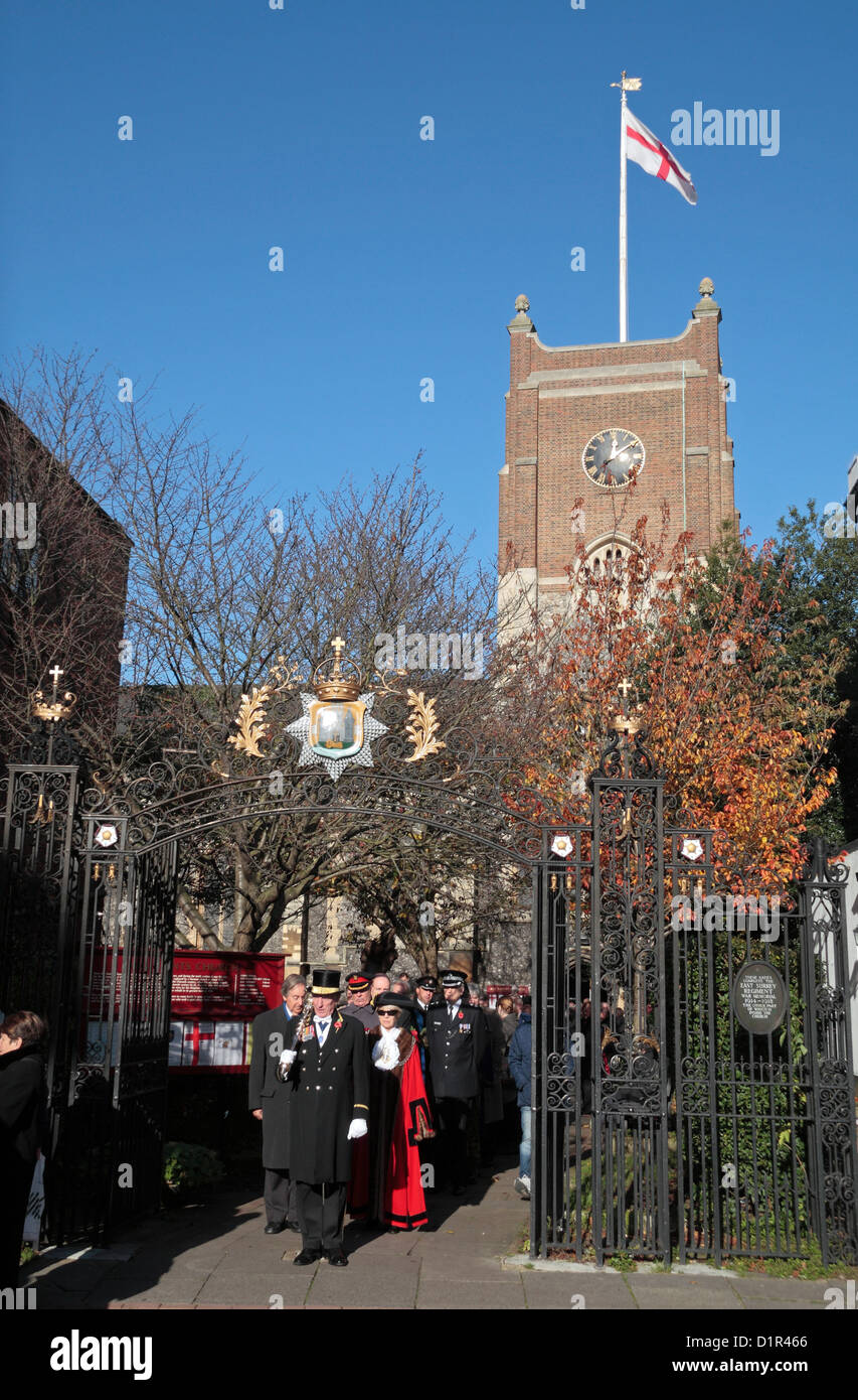 The Mayor of Kingston Upon Thames leaves All Saint Church, part of Remembrance Day, Kingston Upon Thames, UK.  11 - Stock Image