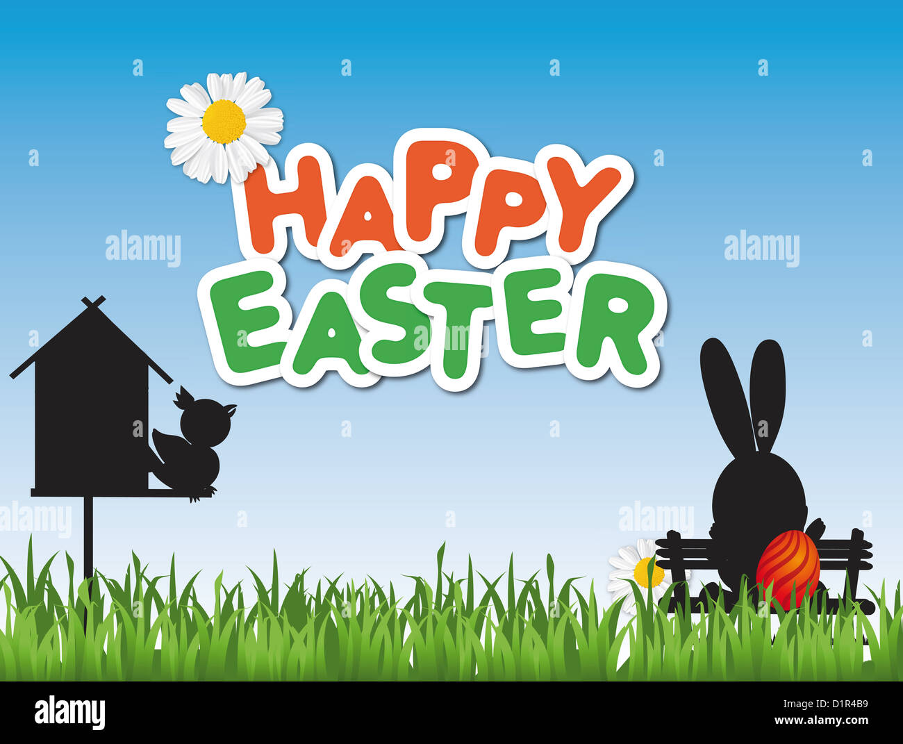Happy Easter card with a birdhouse and an Easter bunny on a park bench - Stock Image
