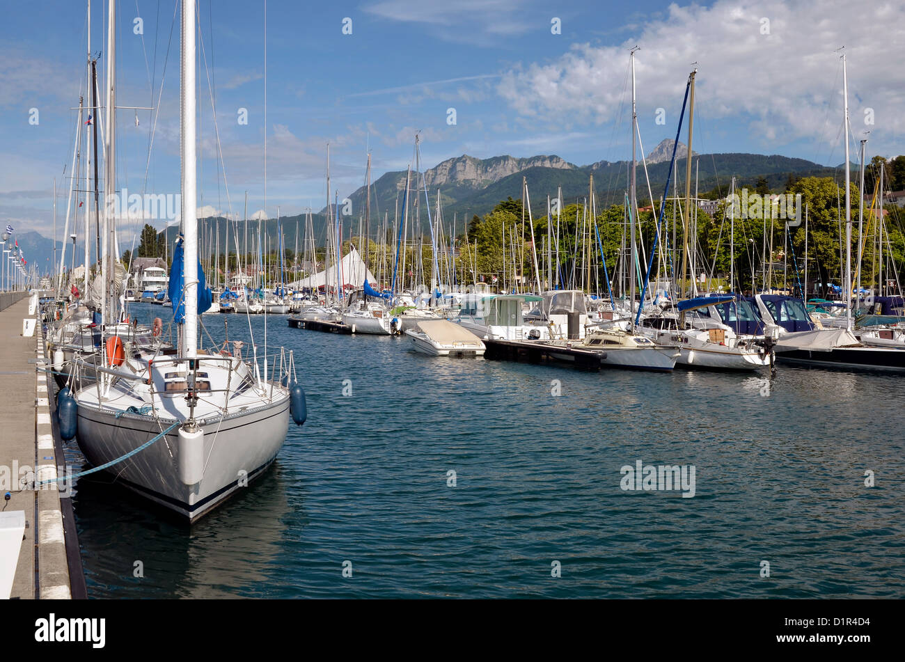 Port of Evian-les-Bains on the banks of Léman lake to the east of France, commune in the Haute-Savoie department - Stock Image