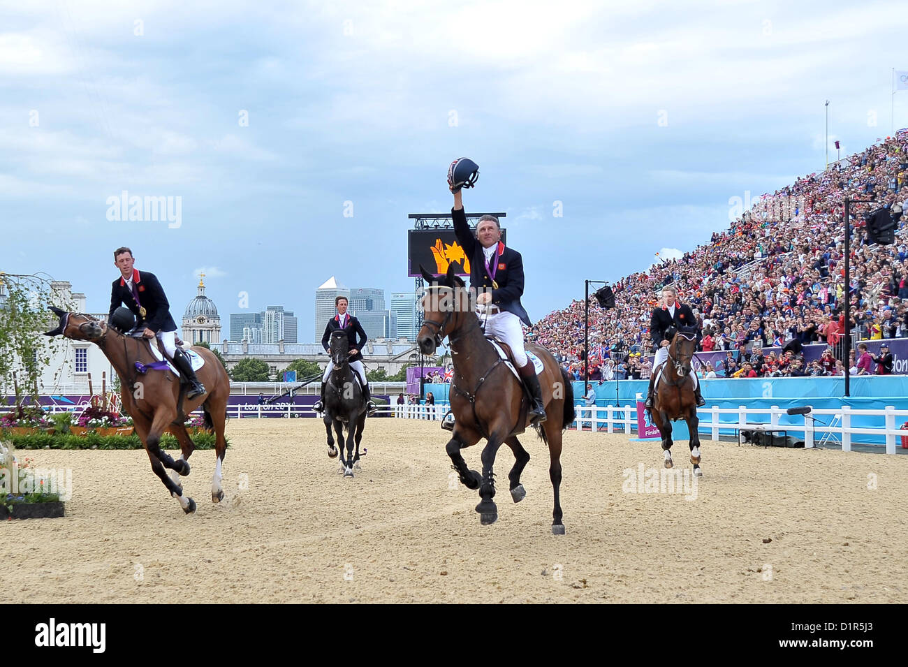Team GB on their lap of honour. Team Showjumping - Stock Image