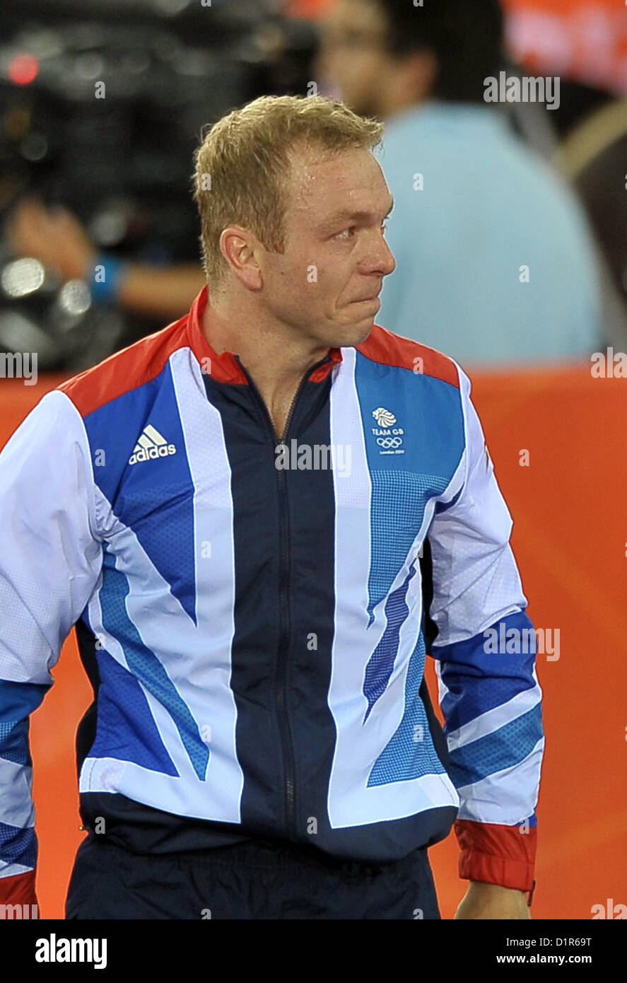 Chris Hoy (GBR, Great Britain) has a tear in his eye . Track Cycling - Stock Image