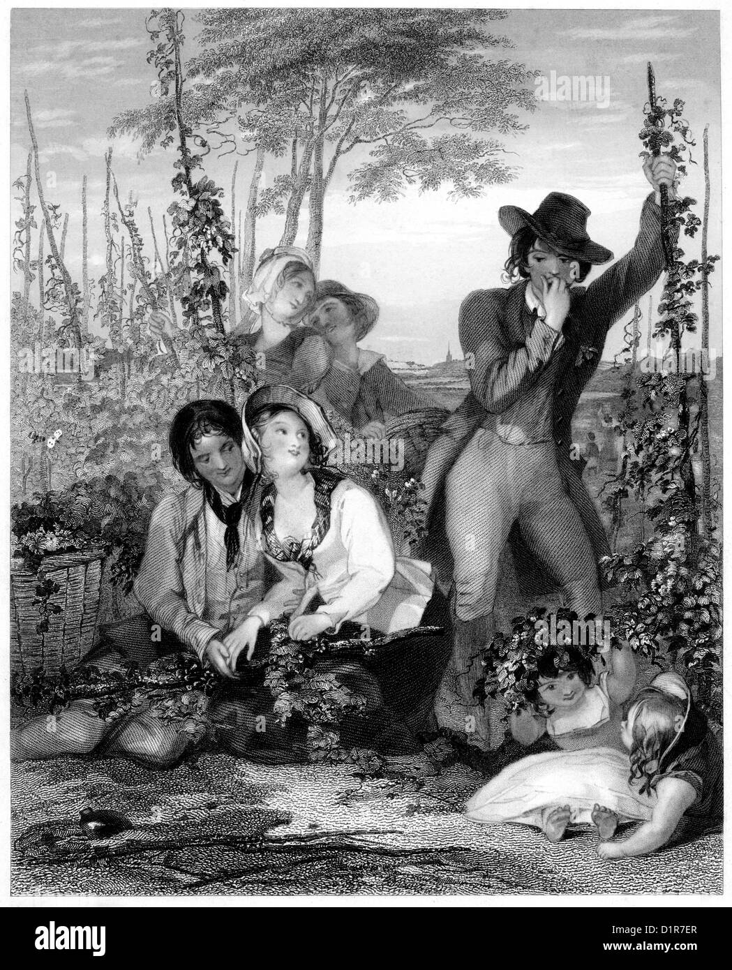 An engraving entitled ' The Hop Garden ' scanned at high resolution from a book published in 1841 - Stock Image
