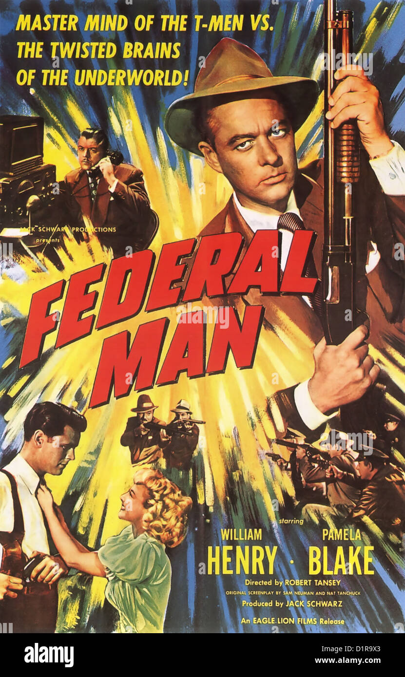 FEDERAL MAN Poster for 1950 Jack Schwarz Productions film with William Henry and Pamela Blake - Stock Image