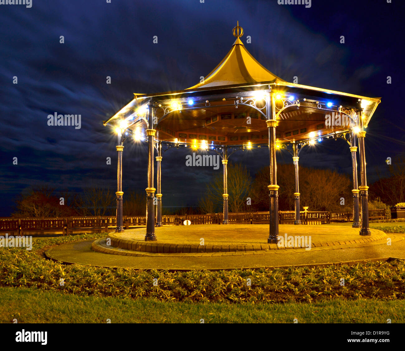 Bandstand in the Crescent gardens Filey North Yorkshire. - Stock Image