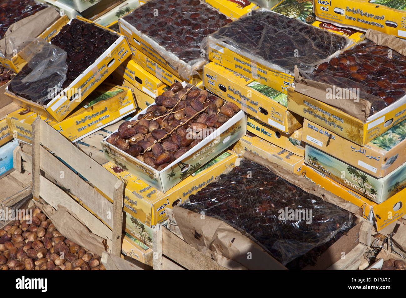 Morocco, Agdz, dates for sale on market. - Stock Image