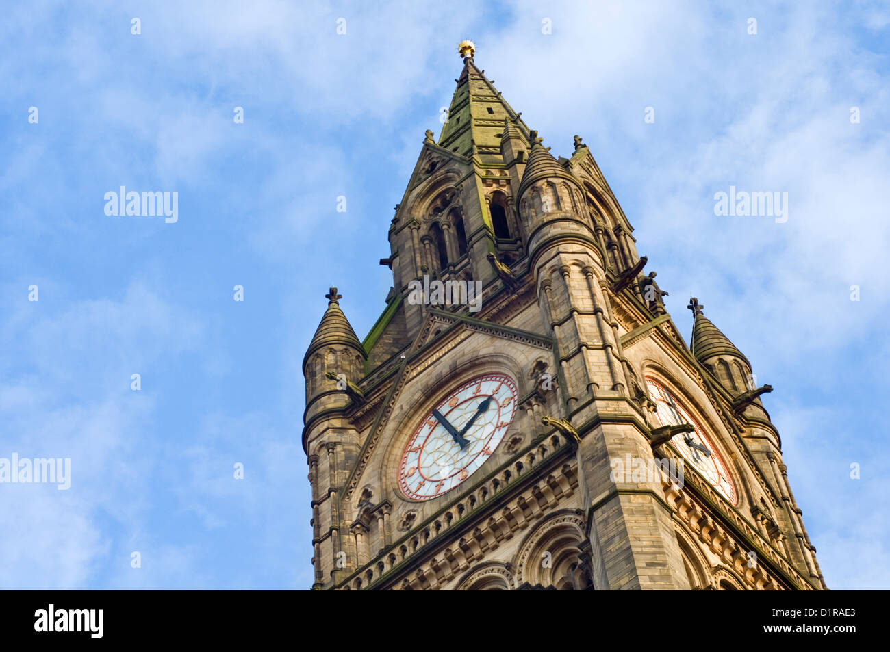 The clock tower of Manchester town hall in Albert Square, England, UK - Stock Image
