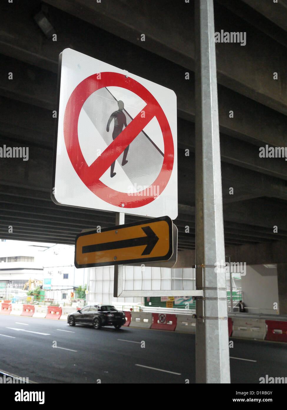 no cross sign jaywalk jaywalking jwalk singapore stock